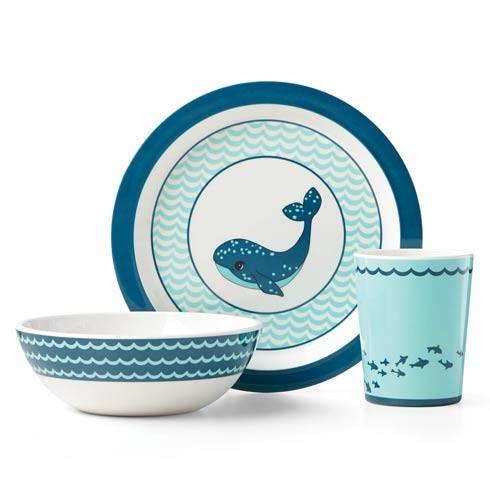 $40.00 Whale 3 Pc Dinnerware Set Blue