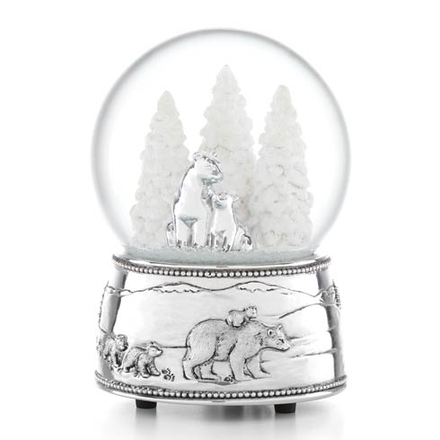 $50.00 Polar Bear & Cubs Musical Snowglobe