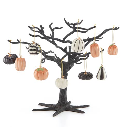 $149.95 Mini Pumpkin 10pc Ornament & Black Metal Tree Set
