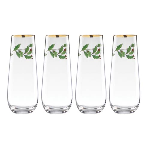 Lenox  Holiday 4-piece Stemless Flute Set $39.95