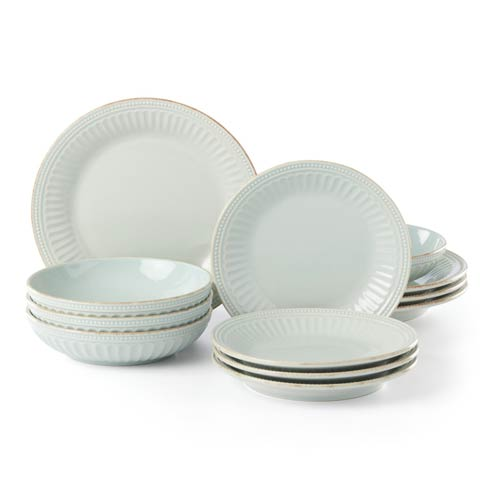 Lenox French Perle Groove Ice Blue 12pc Dinnerware Set with Pasta Bowl $149.95