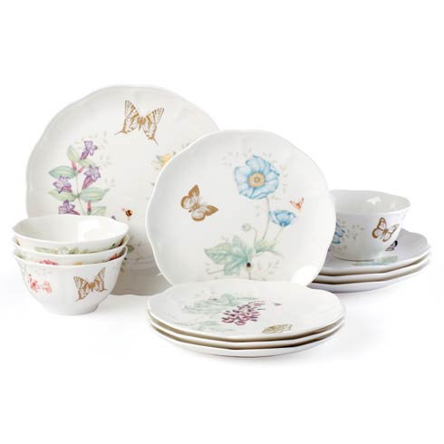$149.95 Mch Gold Butterfly 12pc Dinnerware Set