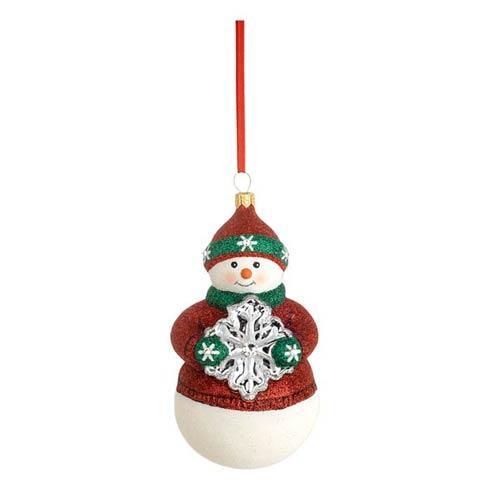 Snowflake Snowman Glass Blown Ornament