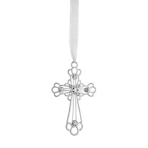 Crystal Cross Silverplate Ornament