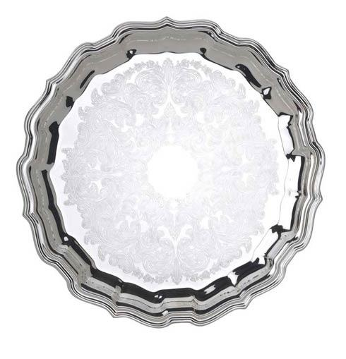 """Reed & Barton  Chippendale 12 1/2"""" D. Round Tray, Embossed $110.00"""