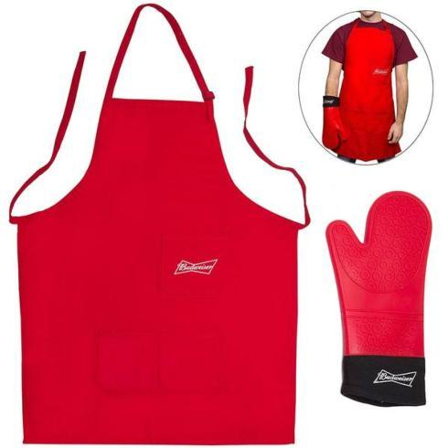 Camerons   Budweiser Grilling Apron & Extra Long Silicone Mitt $24.95