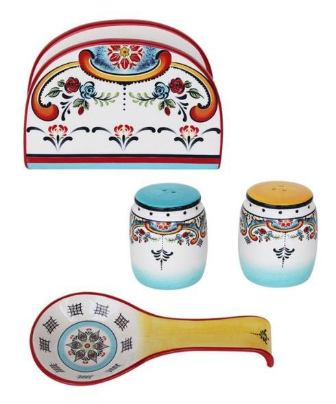 Euro Ceramica   S&P Shakers, Spoon Rest & Napkin Holder - Free with purchase of Canister Set $0.00