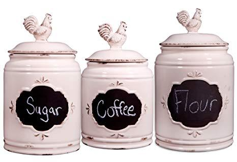 $75.00 Set of 3 Ivory Chalkboard Canisters