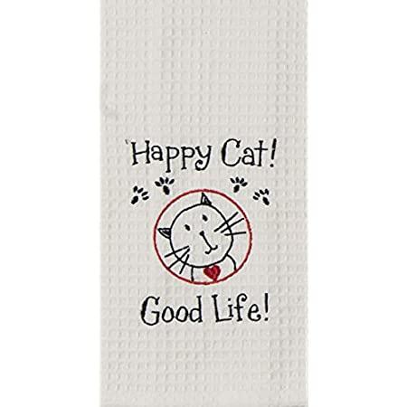 $8.99 HAPPY CAT WAFFLE TOWEL
