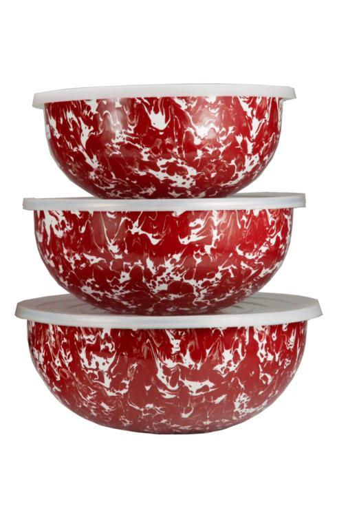 Golden Rabbit   Red Swirl Mixing Bowls $75.00