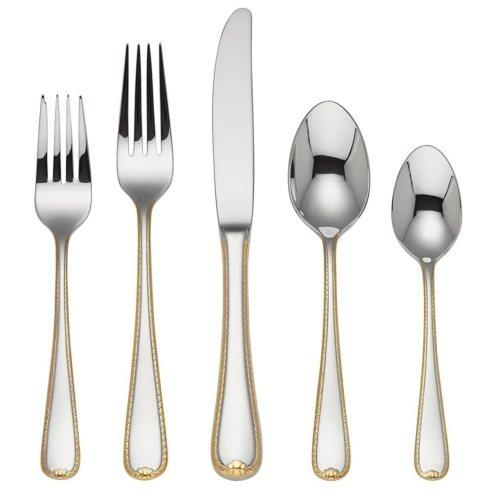 Lawren*s Exclusives  Stainless Flatware Golden Ribbon Edge $59.95