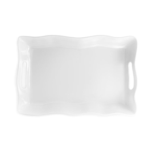 Ruffle White Melamine Small Rectangle Tray With Handles