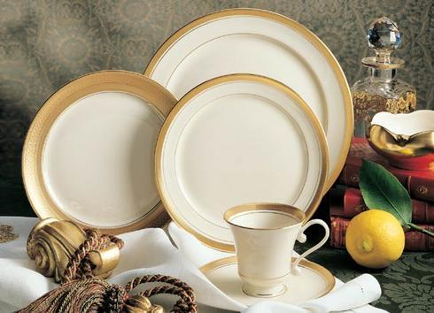 $295.00 Pickard - Palace Gold - Ivory 5 piece place setting