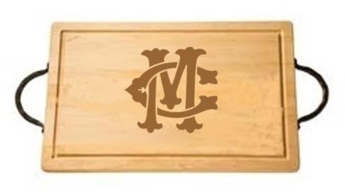 "$165.00 18"" Rectangular Cutting Board with Handles-Custom Monogram-Camp/Montgomery"