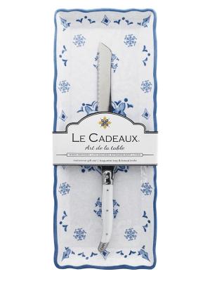 Le Cadeaux  Morrocan Blue Baguette Tray w/Knife $32.00
