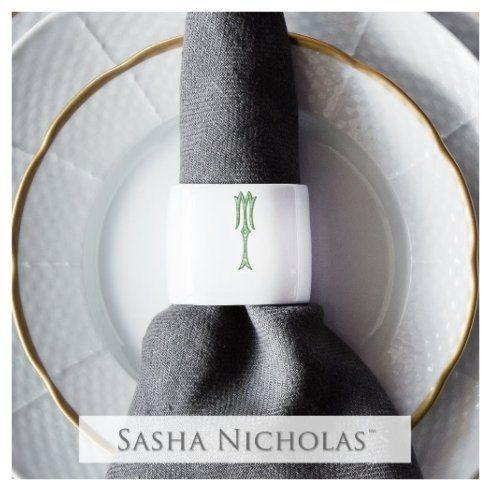 Sasha Nicholas  Romanesque Monogram~Bridal Registry Oval Napkin Ring $30.00