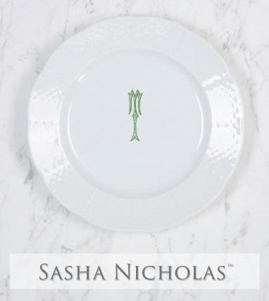 Sasha Nicholas  Romanesque Monogram~Bridal Registry Weave Salad $54.00