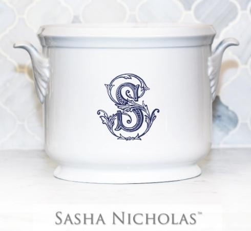 Sasha Nicholas  Couture Monogram~Bridal Registry Champagne Bucket with Navy