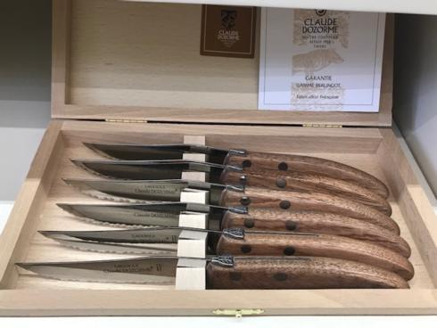 $155.00 Berlingot Steak Knives w/Exotic Wood Handles~set of 6