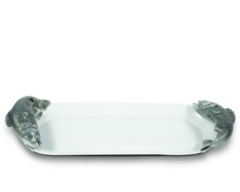 Louis Morgan Exclusives   Vagabond House Stoneware & Pewter Fish Tray - Oblong $209.00