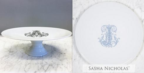 Sasha Nicholas   Cake Plate with Monogram - Navy Couture J $185.00