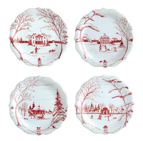 Juliska Country Estate Winter Frolic Ruby Party Plates Set of 4 $118.00