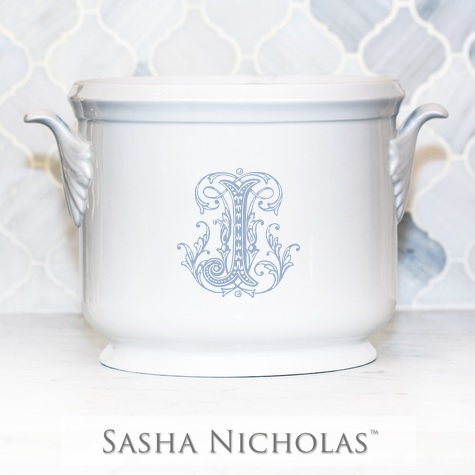 "$185.00 Champagne Bucket with Light Blue ""S"""