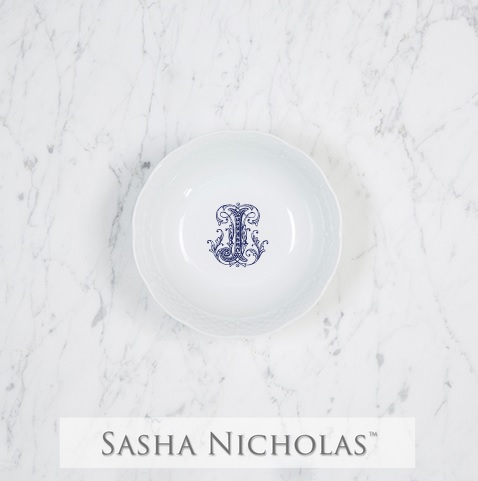 Sasha Nicholas   Weave Petite Bowl with Monogram - Navy Couture J $30.00