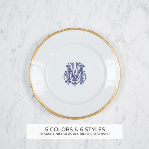 Sasha Nicholas Weave 24K Gold Rimmed Weave 24K Gold Rim Monogrammed Salad Plate $66.00