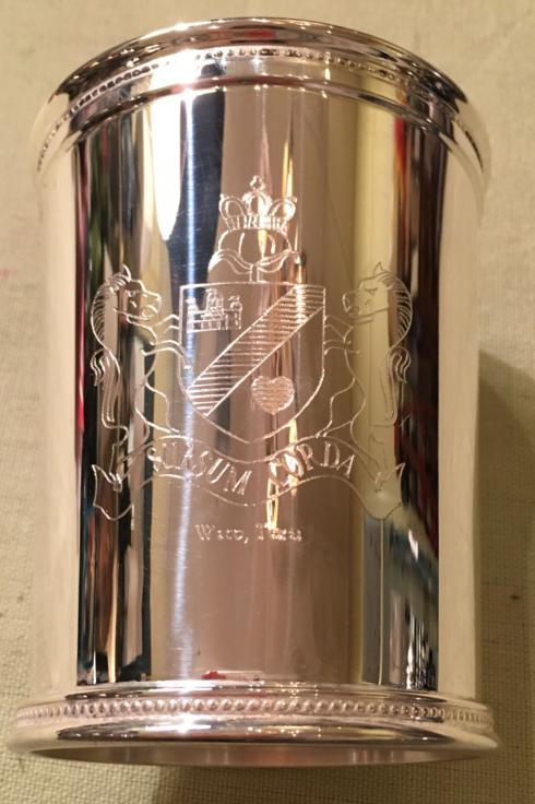 $70.00 Silver Julep Cup with Cotton Palace Crest