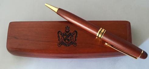$20.00 Wooden Box with Pen with Cotton Palace Crest