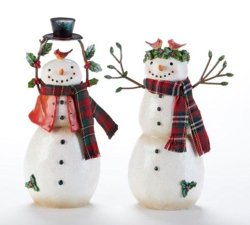Pair of Plaid Scarfed Snowmen figures with Cardinals