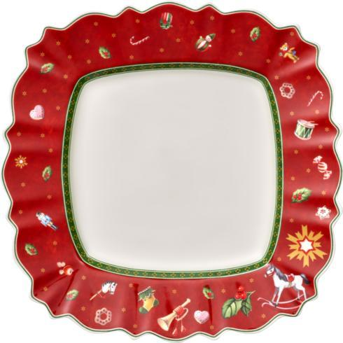 $25.00 Square Dinner Plate: Red