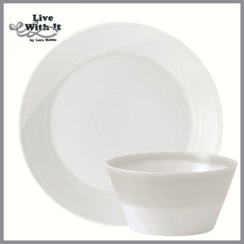 Live With It by Lora Hobbs Exclusives  Custom Designed Place Settings 1815 White Dinner Plate and Cereal Bowl $22.00
