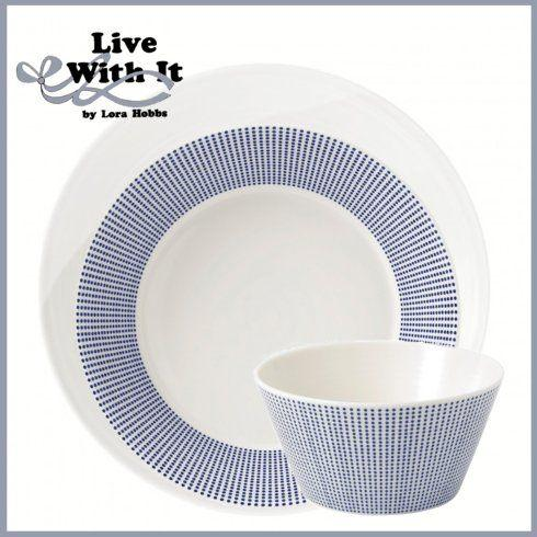 Custom 1815 White & Pacific Dot 3 Piece Place Setting image