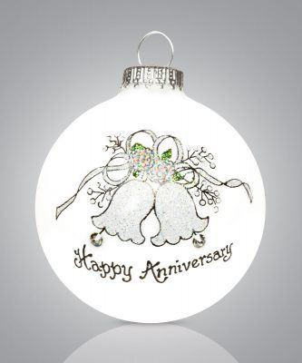 $22.00 Happy Anniversary Ornament --- with Swarovski Crystal