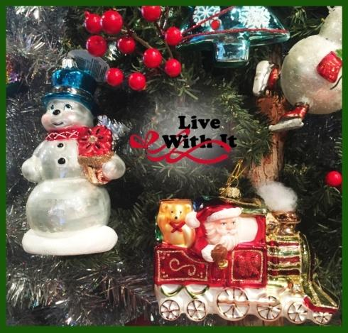 Retro Glass Snowman Ornament --- Holding Poinsettia