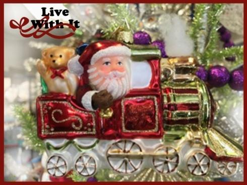 Santa in Train Engine with Christmas Gifts, Glass