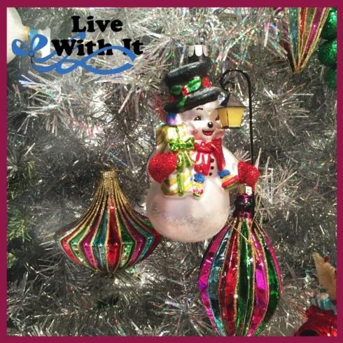 Snowman with Lantern Glass Ornament