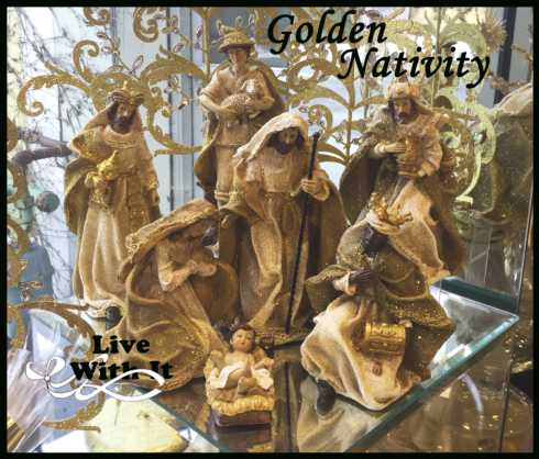 Live With It by Lora Hobbs Exclusives  Christmas Golden Nativity, 7 Piece Set $64.00