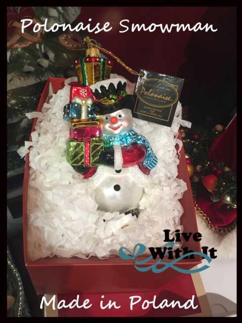 $50.00 Polonaise Snowman with Pile of Packages Glass ornament