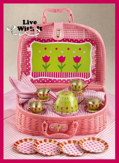 $40.00 Tulip Tea Party Set, 20 Pieces with Basket