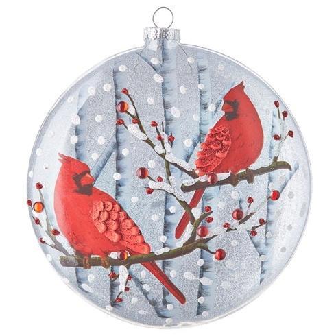 $18.00 Glittered Cardinal Disc Ornament