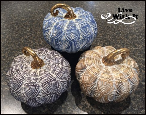 Live With It by Lora Hobbs Exclusives  Harvest Elegant pattern pumpkins, 3 assorted $45.00