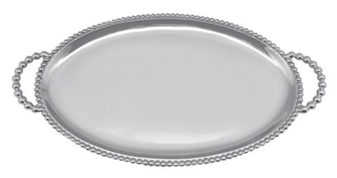 $108.00 Beaded Oval Handled Tray Custom Monogram