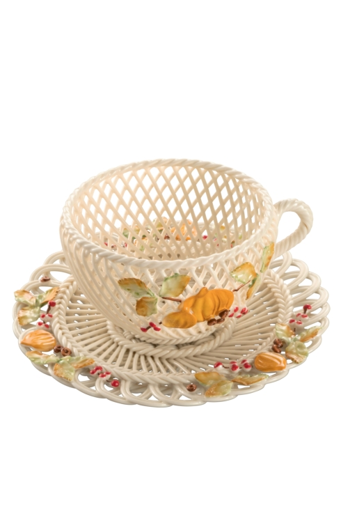 $350.00 Autumn- Harvest Cup and Saucer Basket