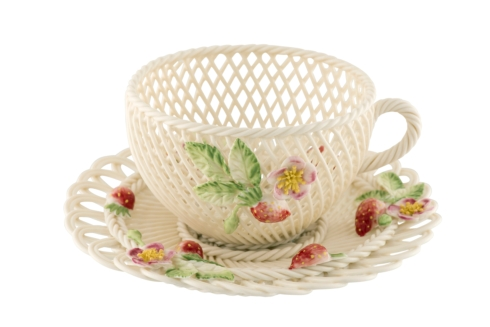$350.00 Summer- Strawberry Cup and Saucer Basket