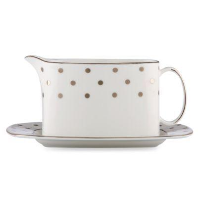 Kate Spade  Larabee Road Platinum Gravy / Sauce Boat and Stand $280.00
