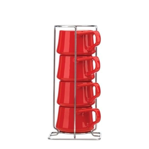 Dansk  Kobenstyle Chili Red Chili Red 4-piece Demitasse Cup Set with Rack $30.00