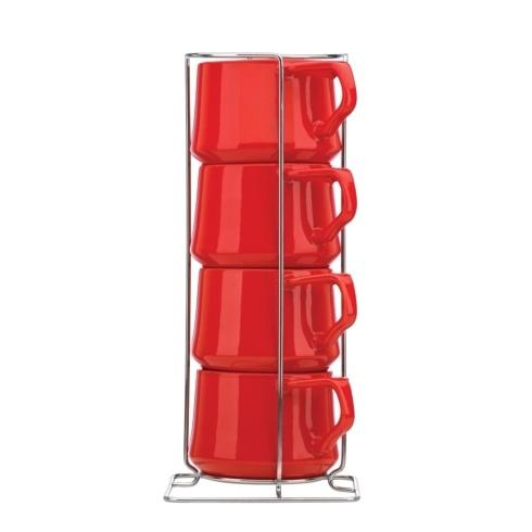 Dansk  Kobenstyle Chili Red Chili Red 4-piece Teacup Set with Rack $30.00